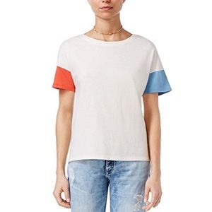 Ban.do Cream Color Block Boxy T-Shirt Top S or M